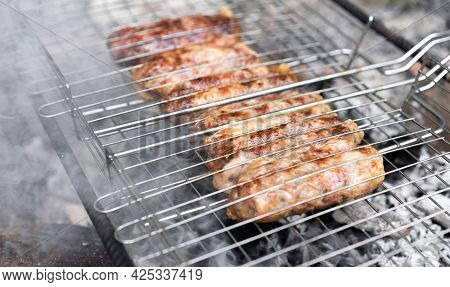 Grilled Meat Is Grilled On Charcoal.grilled Meat Is Grilled On Charcoal