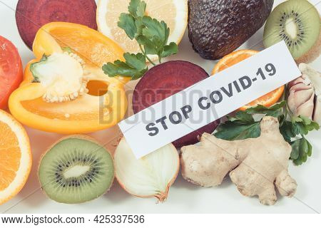 Fresh Ripe Fruits And Vegetables As Source Natural Healthy Vitamins And Minerals. Strengthening Immu