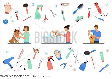 Scenes With People Grooming Dogs. Set Of Tools For Coat Care. Man And Women Caring Of Pets, Cutting