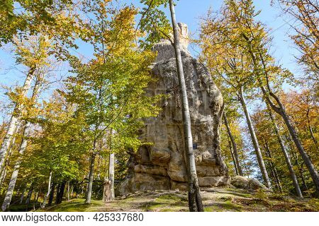 Dovbush Rocks, Group Of Rocks, Natural And Man-made Caves Carved Into Stone In The Forest, Named Aft