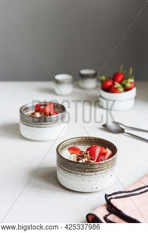 Strawberry, Cream Cheese And Feta Cream And Crumble Crust Dessert. Homemade Sweet And Salty Cheeseca