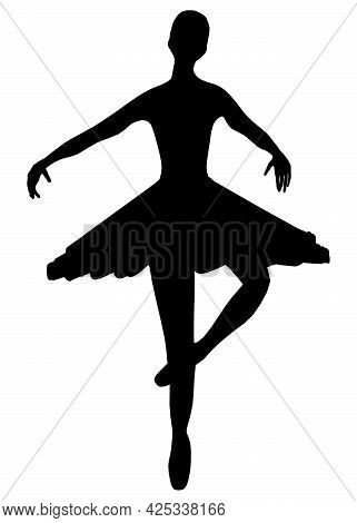 Silhouette Of A Dancing Ballerina Isolated On A White Background. Vector Illustration