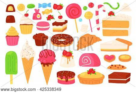 Cartoon Candy And Sweets. Cupcakes, Ice Cream, Lollipops, Chocolate And Jelly Candies, Biscuit Pastr
