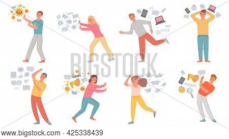 Information Stress. Anxiety People Running From Data Overload, Propaganda, Internet Social Media, Fa