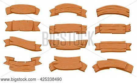 Wooden Ribbon Signboards. Cartoon Wood Curved Banners For Game. Textured Rustic Planks, Plywood Boar