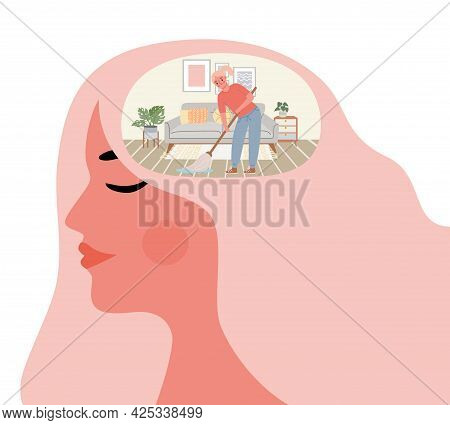 Woman Cleanse Mind. Mental Cleaning In Room Inside Head. Health And Wellbeing Lifestyle. Self Improv