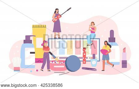 Makeup Cosmetic And Women. Tiny Female Characters With Mascara, Brush, Cream And Lipstick. Beauty An