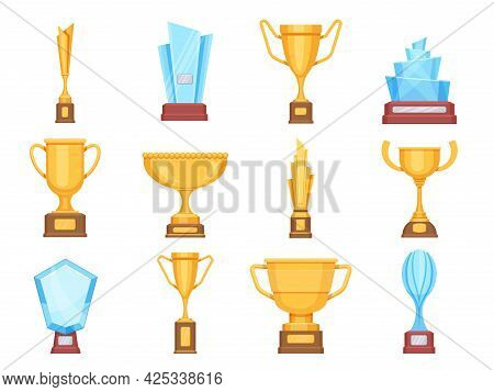 Golden Trophy Cups. Glass And Gold Award Trophies For Sports Or Competition. Crystal Championship Re