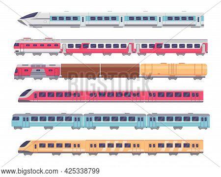 Passenger Trains. Cartoon Subway, Express And Cargo Train. Underground Transport With Wagons. Metro