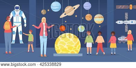 Planetarium Excursion. Adults And Kids Characters In Astronomy Gallery. School Trip To Space Museum.