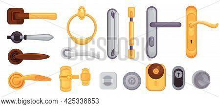 Door Handle And Knob. Cartoon Modern Metal And Golden Locks, Latches, Doorknobs And Handles. House I