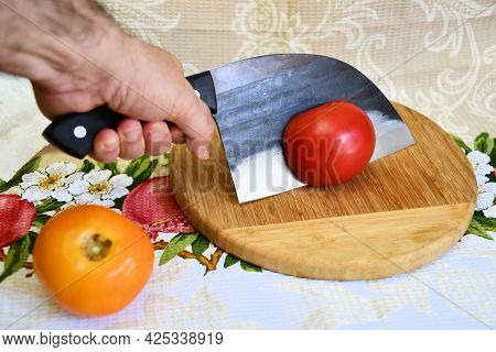 Knife Cleaver Cutting Edge Red Yellow Fresh Tomato Sliced Fetus Human Hand Cooking Food Wooden Plate