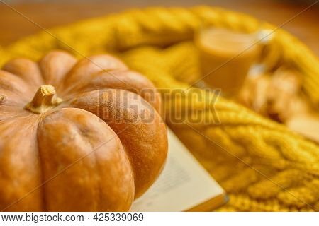 Round Ripe Pumpkin, Open Book And Warm Knitted Sweater. The Concept Of Thanksgiving And Halloween. F