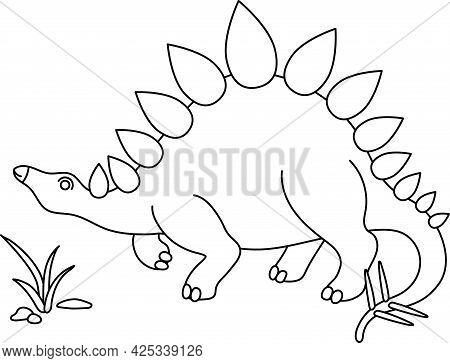 Cartoon Doodle Dinosaur Stegosaurus Doodle For Colorizing Vector Outline