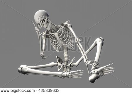 Human Skeleton In Unhappy Frustrated Pose, Conceptual 3D Illustration