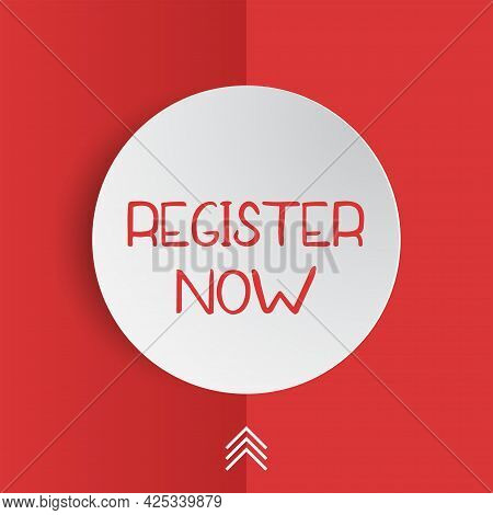 Register Now Badge Vector Isolated On Red. Origami Speech Bubble With Text Register Now