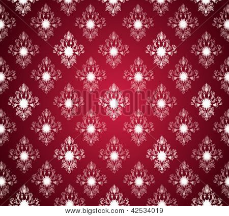 Royal seamless wallpaper, with floral and in red color. poster