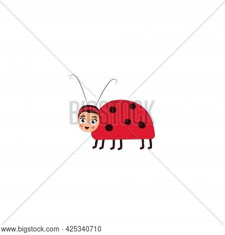 Cute Ladybug. Fun T-shirt And Textile Design For Kids. Use For Fashion Clothing, T-shirt Printing, T