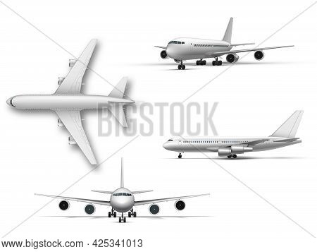 Standing Airplane, Jet Aircraft, Airliner. Detailed Passenger Air Plane On White Background.