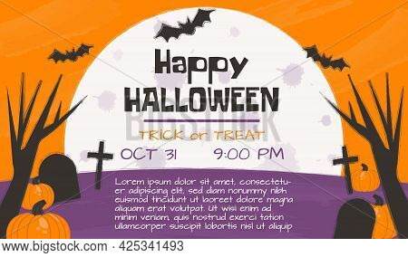 Halloween Party Invitation, Poster, Greeting Or Post Card, Banner, Background. Dark Forest, Cemetery