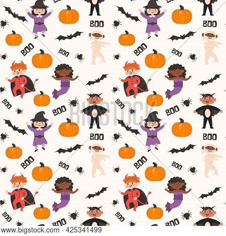 Halloween Kids Costume Party Seamless Pattern. Children In Bat, Witch, Mummy, Devil, Mermaid Costume
