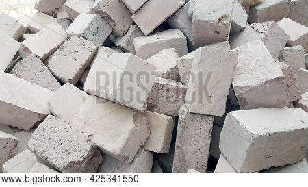 Blocks Made Of Tuff. A Lot Of Stones For The Construction Of Buildings.