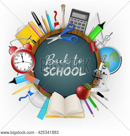 Back To School Background With Realistic School Supplieas Around A Round Chalkboard