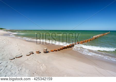 The coastline of the Baltic Sea with beautiful beaches on the Hel Peninsula, Poland.