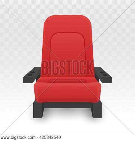 Cinema Seats Isolated On White. Red Chair Vector Illustration