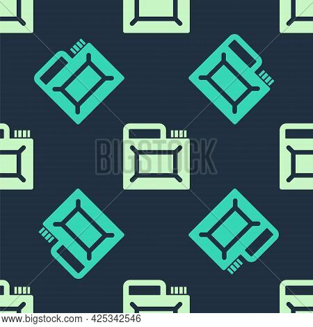 Green And Beige Canister For Motor Machine Oil Icon Isolated Seamless Pattern On Blue Background. Oi
