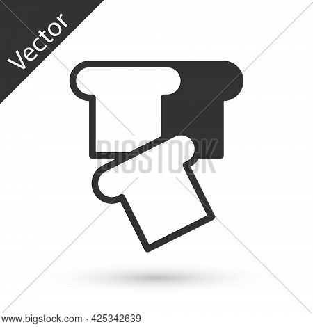 Grey Bread Toast For Sandwich Piece Of Roasted Crouton Icon Isolated On White Background. Lunch, Din