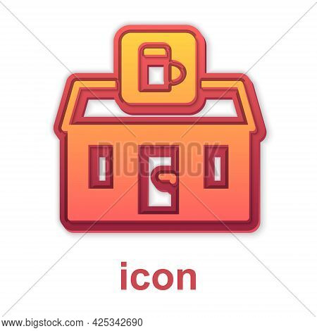 Gold Store Building Of Beer Shop Icon Isolated On White Background. Brewery Sign. Vector