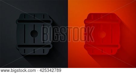Paper Cut Wooden Barrel Icon Isolated On Black And Red Background. Alcohol Barrel, Drink Container,