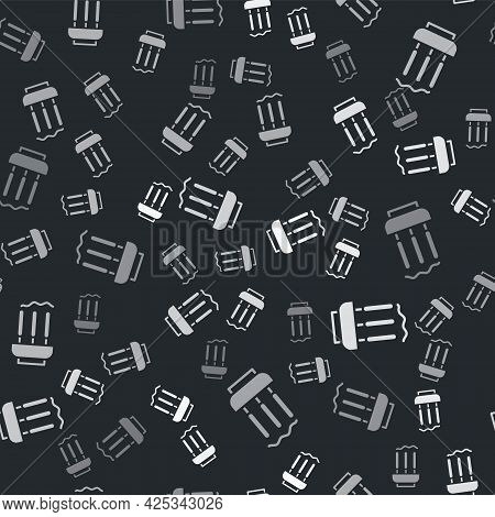 Grey Burning Aromatic Incense Sticks Icon Isolated Seamless Pattern On Black Background. Vector