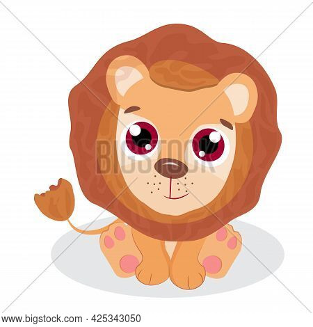 Cute Lion Cub Sitting, Vector Illustration For Children's Designs, Postcards, Posters, T-shirts And