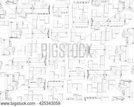 Background With The Contours Of Houses Isolated On A White Background. View From Above. Vector Illus