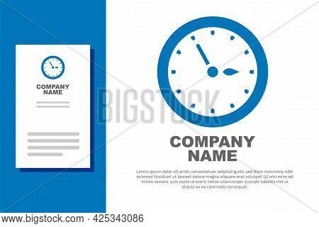 Blue Sauna Clock Icon Isolated On White Background. Sauna Timer. Logo Design Template Element. Vecto