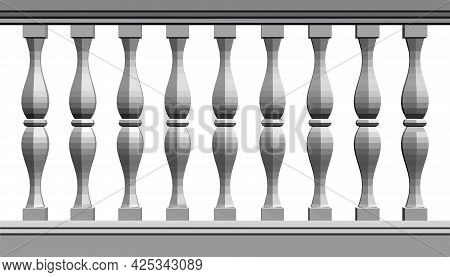 Decorative Columns Isolated On White Background. 3d. Vector Illustration