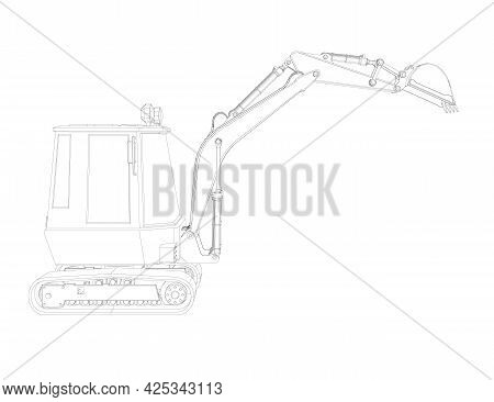 Outline Of A Small Excavator Isolated On A White Background. Vector Illustration