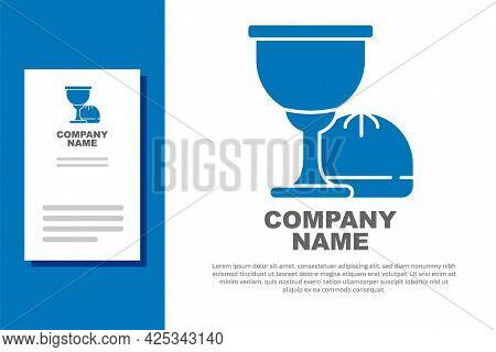 Blue Holy Grail Or Chalice Icon Isolated On White Background. Christian Chalice. Christianity Icon.