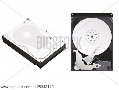 Disassembled And Assembled Hard Disk Drive Isolated On White Background. Vector Illustration