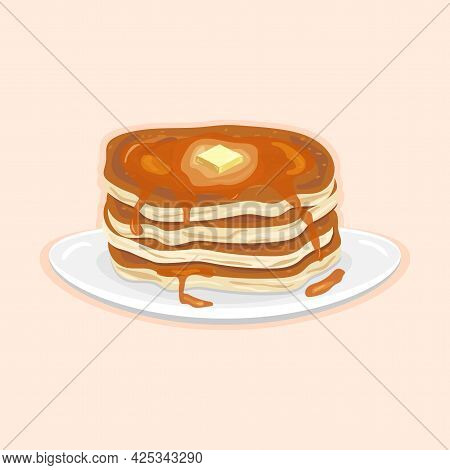 Delicious American Pancakes For Breakfast With Butter And Honey On A White Plate On A Light Backgrou