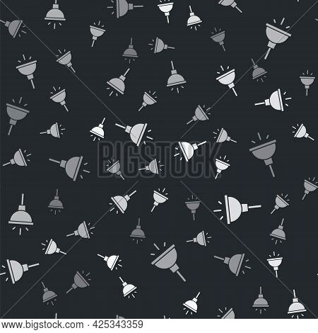 Grey Chandelier Icon Isolated Seamless Pattern On Black Background. Vector