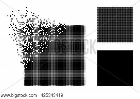 Damaged Dotted Square Pictogram With Halftone Version. Vector Wind Effect For Square Pictogram. Pixe