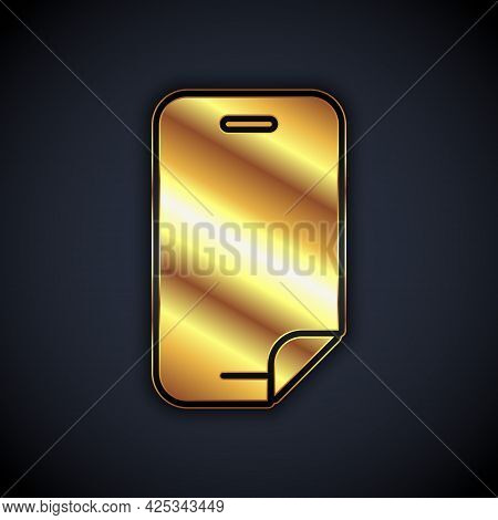Gold Glass Screen Protector For Smartphone Icon Isolated On Black Background. Protective Film For Gl