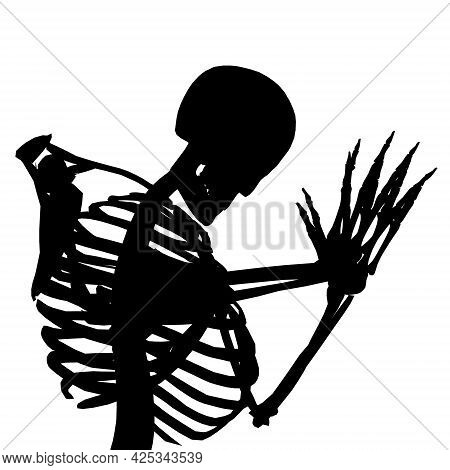 Silhouette Of A Skeleton Kneeling And Praying Isolated On A White Background. Vector Illustration
