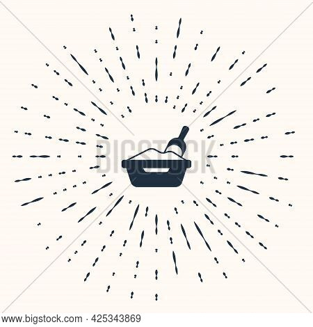 Grey Cat Litter Tray With Shovel Icon Isolated On Beige Background. Sandbox Cat With Shovel. Abstrac