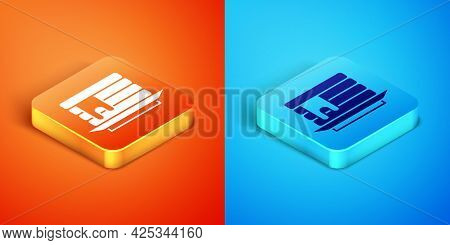 Isometric Stack Of Pancakes With Honey Icon Isolated On Orange And Blue Background. Breakfast Concep