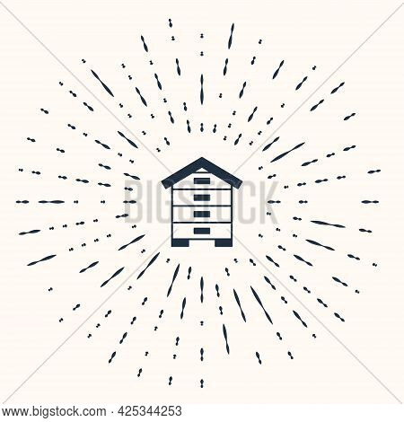Grey Hive For Bees Icon Isolated On Beige Background. Beehive Symbol. Apiary And Beekeeping. Sweet N