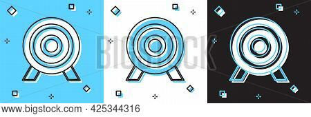 Set Target Financial Goal Concept Icon Isolated On Blue And White, Black Background. Symbolic Goals